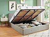 HOMIFAB Lit Coffre 180x200 cm Gris Clair avec tête de lit + sommier à Lattes - Collection Kate