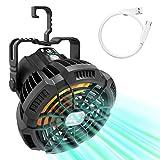 Makibes Ventilateur Portable Silencieux avec Rechargeable Batterie Lumière LED, Ventilateur Camping USB avec Crochet Rotatif, Réglage à 3 Vitesses Télécommande pour Extérieur et Intérieur Table