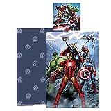 AYMAX S.P.R.L. Parure de Lit Réversible Disney Avengers - Housse de Couette 140x200 cm + Taie d'oreiller 65x65 cm, 100% Coton
