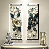 Wall Sculptures Cadre Fleur en Métal Blanc Bleu | 90cm X 31cm | Art Mural Géométrique en Métal, Décorateur Mural, 2 Pièces
