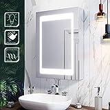 SIRHONA Armoire Salle de Bain avec miroirs 50x70x13 cm Armoire de Toilette avec Miroir Salle Bains avec éclairage illuminé AVCE Anti-buée, Intrrupteur d'Infrarouge