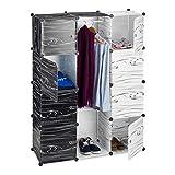 Relaxdays Armoire penderie Meuble cubes rangement 9 casiers plastique modulable DIY 145 x 110 x 37 cm, noir et blanc