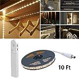 Wonsung 180LED de lumière de bande de 3 m, lumière de garde-robe LED veilleuse avec capteur de mouvement ,Utilisé pour: armoire, fond de lit, cuisine, placard, etc. [6500K blanc]