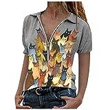AFFGEQA Femmes Chemisier décontracté Haut de Chat imprimé à la Mode Blouse zippée à Revers Chemise Ample à Manches Courtes