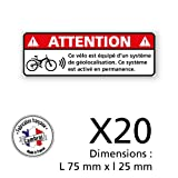 Signalétique.biz France Adhésif - 2 Planche de 10 Adhésifs Vélo Équipé d'un Tracker GPS - Dimensions 75x25 mm - Protection Anti UV