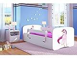 Lit d'Enfant Complet 70x140 80x160 80x180 sommier tiroir barrierèrespour Filles garçons lit Simple - Blanc - Licorne - 70 x 140 cm