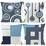 Gspirit Housse de Coussin, Lot de 4 en Coton et Lin Moderne Bleu Géométrique Modèle Décoratif Taie d'oreiller Décoration pour Canapé Chambre Maison 45 x 45 cm