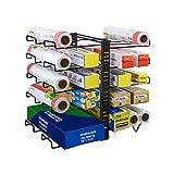 X-cosrack Porte-organisateur Wrap, Support Wrap réglable avec 10 porte-fils, Organisateur multifonctionnel Wrap Box pour cuisine, armoires, garde-manger, noir (brevet en instance)