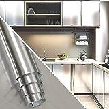 KINLO 0,61 x 5 m Papier d'aluminium Autocollant Papier de Cuisine Autocollant résistant à l'huile étanche Anti-moisissure Feuille de Meubles Bricolage pour Cuisines, armoires, Meubles, Tables Type-F