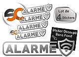 Lot de 4 Stickers Alarme - Autocollant Protection Alarme Vidéo Surveillance