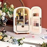 Kacsoo Mini Frigo de Chambre 12L Mini Frigo Cosmétique Portable 220V Mini Réfrigérateur Silencieux 8℃-20℃ 62 W cosmétique réfrigérateur pour chambre à coucher, bureau, voiture, dortoir(White)