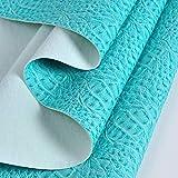 MAGFYLY Cuir synthétique au mètre Similicuir Cuir Tissu Tissu d'ameublement texturé, for l'ameublement de canapés, chaises, Sacs, Tissus d'ameublement (Color : Blue, Size : 1.38X1m(4.53X3.28ft))