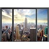 decomonkey | Papier peint intissé New York Fenetre 200x140 cm Trompe l oeil | Déco Mural Tableaux Muraux Photo Ville Gratte-ciel