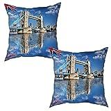 saletopk Lot de 2 Housses de Coussin taies d'oreiller,Célèbre Tower Bridge à Londres Angleterre Royaume Uni,uni décorations de décoration intérieure pour canapé lit Chaise (50x50cm) x2