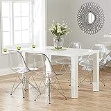 Lot de 4 Ghost Chaises en Polycarbonate + Acier pour Salle à Manger, Salon, Bureau, Restaurant et Jardin, 40 x 46 x 81 cm