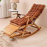 HPLL Chaise Berçante Pliante en Bois, Fauteuil À Bascule Inclinable en Bambou pour Chaise de Pause Déjeuner Sieste Lit Bureau Chaise Paresseux Chaise Maison en Bambou (98x47cm) Chaise de Cuisine