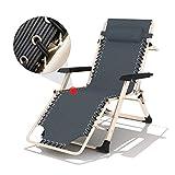 Chaises longues, chaise longue Siesta Office Balcon Nap Chaise simple Lit pliant Lounge Chair Ménage (Color : Gray)
