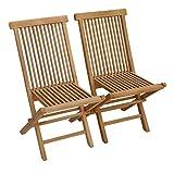 BENEFFITO SALENTO - Lot de 2 Chaises de Jardin Pliantes en Teck pour l'Extérieur Teinte Naturelle