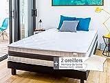Matelas mémoire de Forme 140x190 Memo Luxe Hbedding + 2 oreillers à mémoire de Forme 60x60cm.