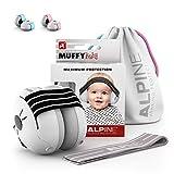 Alpine Baby Muffy Casque Anti bruit bébé : protection auditive pour bébés et tout-petits jusqu'à 36 mois - Améliore le sommeil pendant les déplacements - Réglable et confortable - Noir