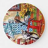 No Brands Horloge murale en bois silencieuse sans tic-tac 30,5 cm Cadeau de pendaison de crémaillère, cuisine italienne à Florence, chaise et vin Rouge