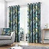 Fusion Home Furnishings Tropical Housse de Coussin Jaune Ocre 43 x 43 cm, 100% Coton, Multicolore, Curtains: 46' Width x 54' Drop (117 x 137cm)