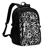 asfg Portable Word Alphabet Multifunctional Personalized Customized USB Backpack, Student School Outdoor Backpack,Travel Bag Laptop Bookbags Business Daypack.
