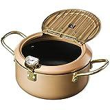 GzxLaY Pot de friteuse Tempura avec thermomètre et Couvercle de Grille d'égouttement d'huile pour Poulet Frites poêle à l'huile de Poisson et de crevettes,C