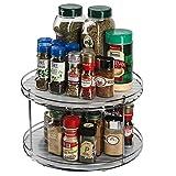 J JACKCUBE DESIGN 2 étages Lazy Susan Plateau de rangement rotatif pour épices – Support de rangement pour armoires, garde-manger, réfrigérateur, comptoirs – MK533A