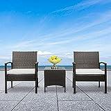 MONOVO Ensemble Salon de Jardin Exterieur 2 Personnes : 2 fauteuils et Table Basse Verre Trempé Résine Tressée Imitation Rotin Canapé avec Blanc Coussins