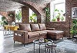 Bobochic - Lilly - Canapé d'angle Convertible - avec Coffre - 4 Places - Industriel Vintage - Droit