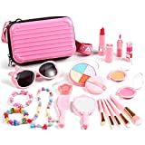 Auney 20 pièces Maquillage pour Enfants, Maquillage Enfant Jouet Fille, Kit de Maquillage Non Toxique pour Enfants avec Bijoux