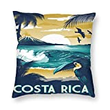But why miss Housse de coussin carrée Costa Rica avec fermeture éclair pour canapé, 45,7 x 45,7 cm