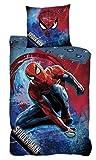 AYMAX S.P.R.L. Parure de lit Réversible Spiderman - Housse de Couette 140x200 cm + Taie d'oreiller 63x63 cm