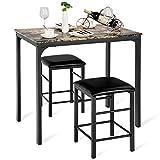Costway Ensemble de Table et 2 Chaises Cuisine Set Table Chaises Rectangulaire Salle à Manger en Bois+Eponge 90 x 60 x 82 cm et 35 x 35 x 50.5 cm