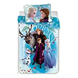 Disney Reine des Neiges Familly - Parure de Lit Enfant - Housse de Couette Coton