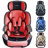 XOMAX XL-518 Siège Auto pour Enfant avec ISOFIX I 9-36 kg, 1-12 Ans, Groupe 1/2/3 I Harnais 5 Points et 3 Points I Housse Amovible et Lavable I ECE R44/04 I Rouge