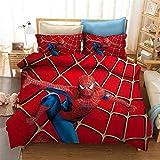 HLSM Spiderman Parure de lit 3D avec housse de couette et taies d'oreiller pour lit simple/double/king size en microfibre rouge pour adulte (A10,220 x 240 cm)