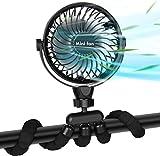 Ventilateur Polyvalent Silencieux,Ventilateur à Pince avec Veilleuse, Ventilateur à Batterie de 2600 mAh avec Trépied Flexible, Ventilateur USB Rotatif à 360 ° pour Poussette, Siège d'Auto, Tente