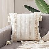 MOCOFO Luxe Housse de Coussin Tufting Pompon, décoratif pour canapé et lit, Blanc, taie d'oreiller Housses de Coussin décor à la Maison 45x45cm