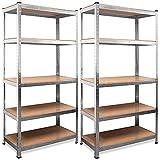 Deuba Lot de 2 étagères pour charges lourdes 170 x 75 x 30 cm 350 kg 5 panneaux MDF.