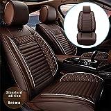Housse de Siège de Voiture Avant en Cuir PU pour H yundai Santa Fe Sport Confortable Protection de Siège Auto Compatible avec Airbag Café