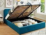 HOMIFAB Lit Coffre 140x190 cm Bleu Canard avec tête de lit + sommier à Lattes – Collection Kate