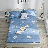 HPPSLT Draps de lit en polyester et coton mélangé doux et imprimé imperméable - Couleur unie - 25 _ 180 x 200 cm