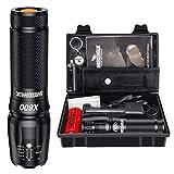 Shadowhawk X800 Lampe de poche LED CREE ultra lumineuse, 4000 lumens lampe torche tactique rechargeable avec zoom pour le camping, la randonnée et les urgences (avec batterie 5000 mAh 26650)