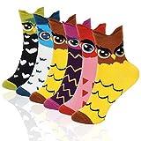 Emooqi Coton Chaussettes Femmes, Lot de 6 Motif à Animaux Hibou Thermiques Chaussettes Respirantes Multicolores Chaussettes pour Filles & Femmes, EU 35-40 (jaune)