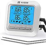 Habor Thermomètre de Four avec 2 Sonde, Grand Écran LCD, Mode Minuteur D'alarme, Lecture Instantanée, Thermomètre pour Viande pour BBQ, Grill, Fumeur Électrique, Sucre, Lait, Yaourt