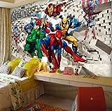 3d Photo Papier Peint 3d Dessin Animé Chambre D'enfants Papier Peint Avengers Chambre Fond Papier Peint Spiderman Largeur350cm * Hauteur250cm