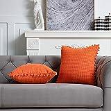 DEZENE 45x45cm Taies d'oreiller Décoratives avec Pompons - Orange Lot de 2 Housses de Coussin en Carré Velours Côtelé Rayé Big Corn Kernels pour Canapé de Ferme