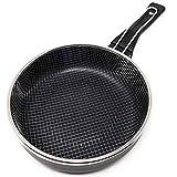 LS Kitchen - Friteuse avec Panier - Poêle à Frire - Aluminium et Acier - Induction - Ø 20 cm - Noir